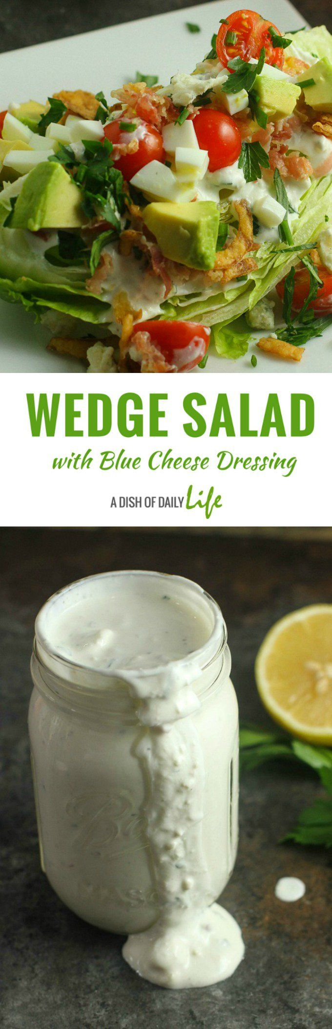 This Wedge Salad is topped with the most AH-MAZING Blue Cheese Dressing in this elegant dinner party menu! #salad #WedgeSalad #BlueCheeseDressing