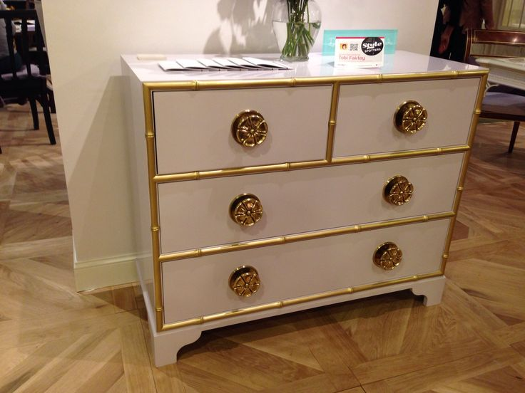Stunning lilac and gold chest from @Kindel Draper Draper Draper Draper Draper Draper Draper Furniture's Dorothy Draper collection #hpmkt in Interhall #StyleSpotter Tobi Fairley