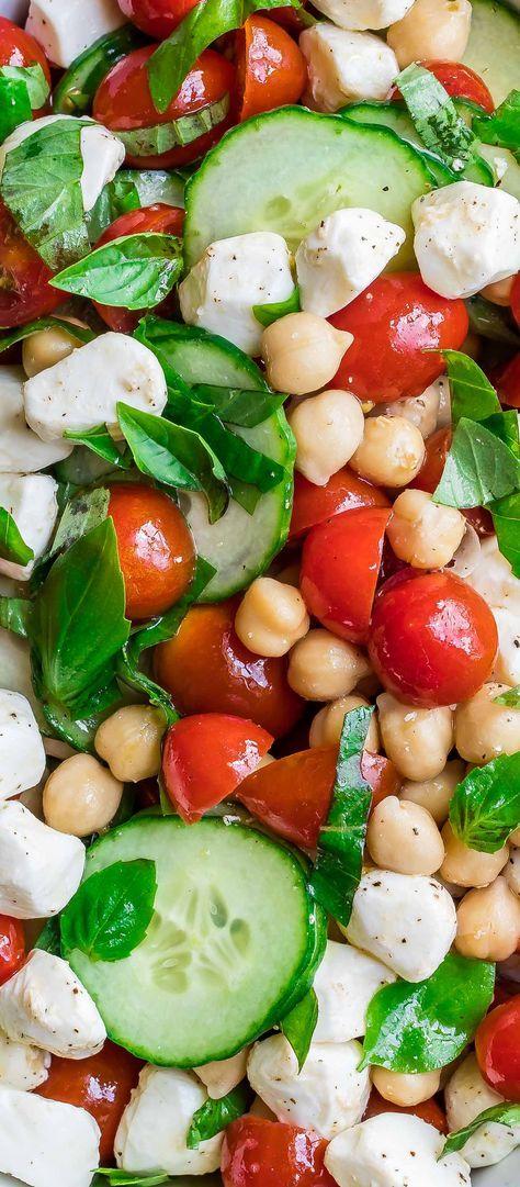 Chickpea Tomatoe Cucumber Salad with Feta or Mozzarella