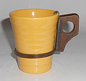 Bauer Pottery Ring Ware Yellow 6 Oz Tumbler W/handle