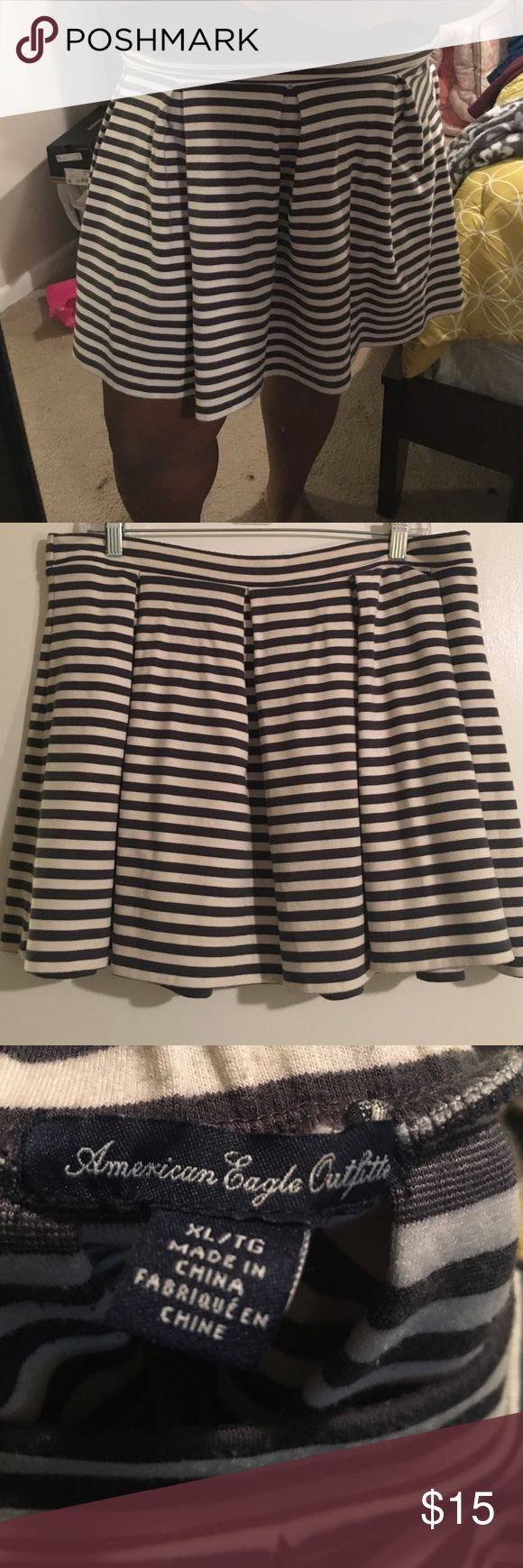 American Eagle Outfitters Skater Skirt Cute skirt. American Eagle Outfitters skater skirt. Striped gray and white. LOVE it, just feel that it's too short for me. American Eagle Outfitters Skirts Circle & Skater