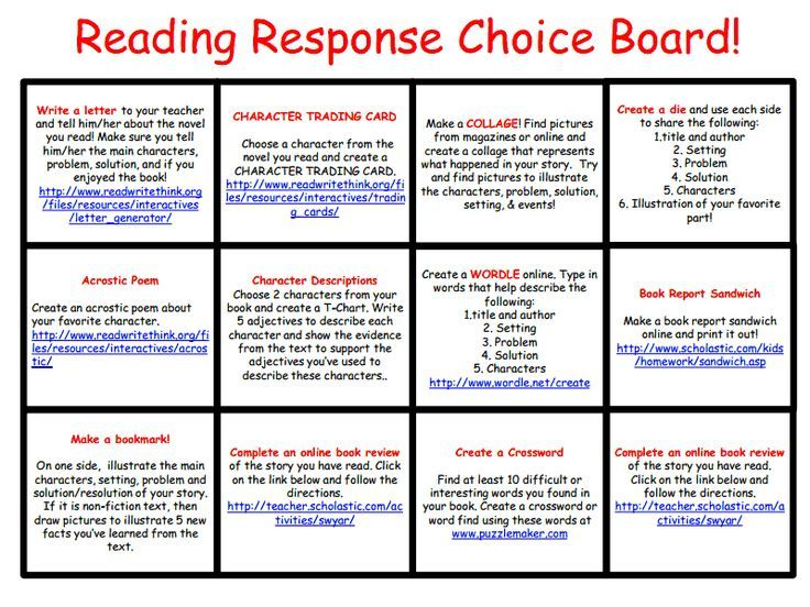 Love this … Free Reading Response Choice Board. Each choice has a clickable link to an online resource. Awesome :)