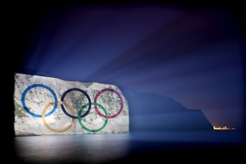 The Olympic Rings projected onto the White Cliffs of Dover - one week to go!