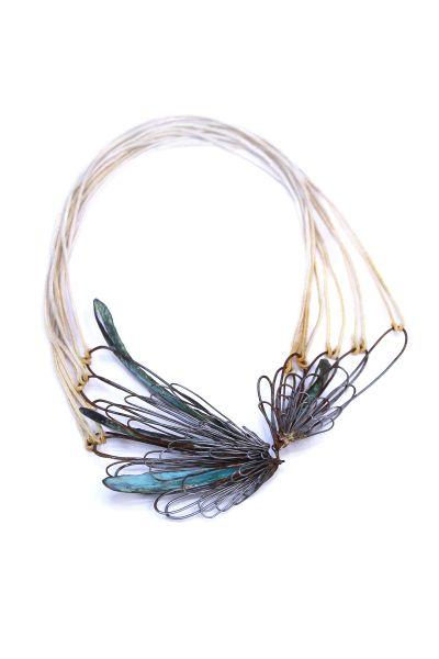 "Leia Zumbro -USA (East Carolina University-School of art and design) ""Winged"" necklace - steel, copper, cotton"