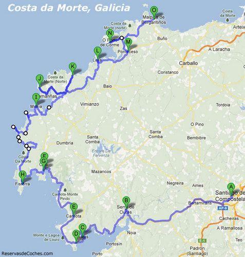 Mapa Ruta en coche Costa da Morte