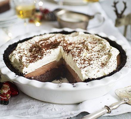 This indulgent American-style dinner party dessert has layers of Oreo biscuits, brownie, chocolate custard and whipped cream