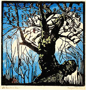 Margaret Preston 'Old Banksia tree' c.1936 woodblock print National Gallery of Australia © Margaret Preston.