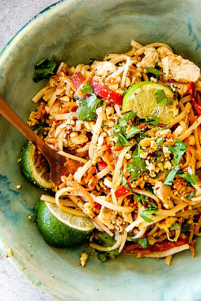 This Chicken Pad Thai Recipe is unbelievable with the most incredible pantry friendly Pad Thai Sauce!  It tastes even better than takeout and only 30 minutes to make!  You can use chicken or make it vegetarian Pad Thai or Shrimp Pad Thai!