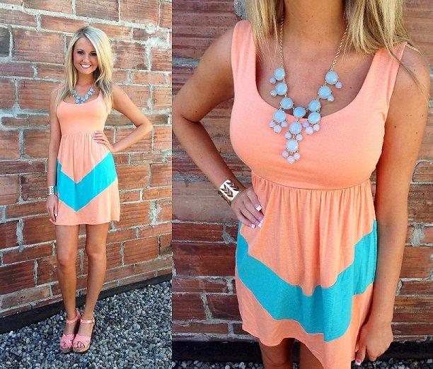 Apricot + Teal Chevon Summer Dress