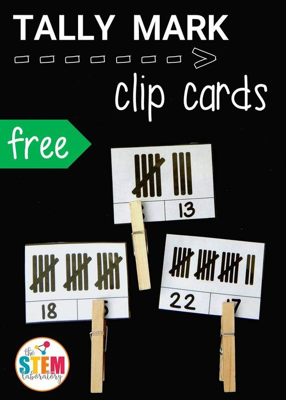 Awesome tally mark clip cards for kindergarten or first grade. Count the tallies and clip the number that matches. Such a fun math activity or math center idea.  Perfect for students with special learning needs.  Read more and get your FREE download at:  http://thestemlaboratory.com/tally-mark-clip-cards/