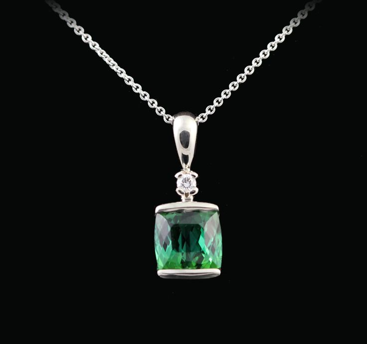 Green tourmaline and diamond custom carved pendant (SD-14)  Abracadabra Jewelry/Gem Gallery - NECKLACES