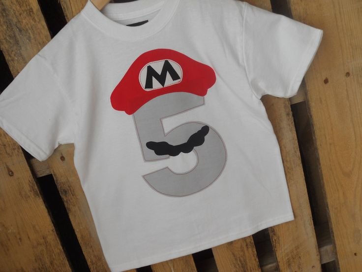 Mario Bros. Birthday shirt with a grey number. Available in any number. Five, Six, etc.. $16.00, via Etsy.