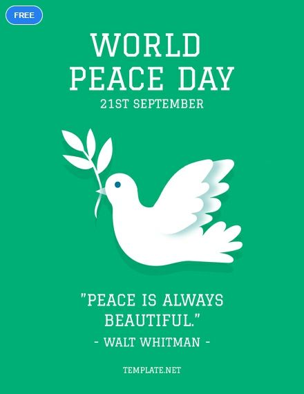 free world peace day greeting card