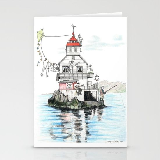 Stabben Lighthouse in Norway Stationery Cards