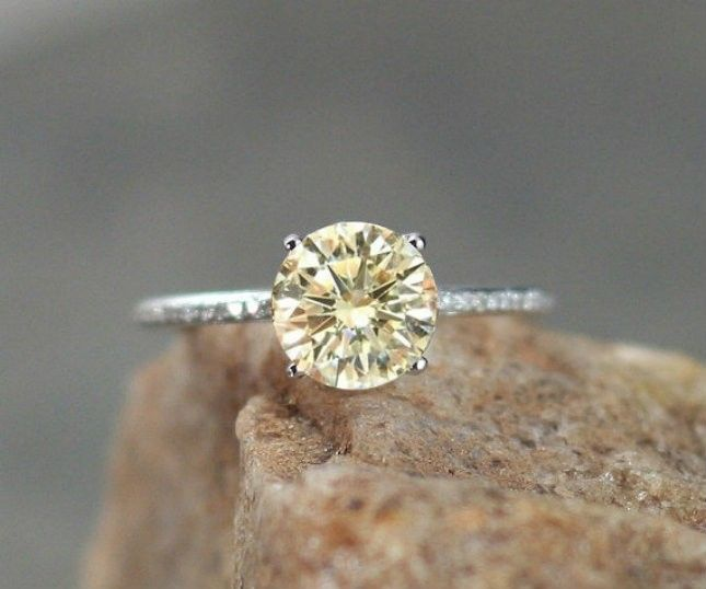 alternative engagement ring radiant cut yellow cz ring wyellow sapphire and diamond double halo customize your engagement ring ls4078 rings - Yellow Diamond Wedding Rings