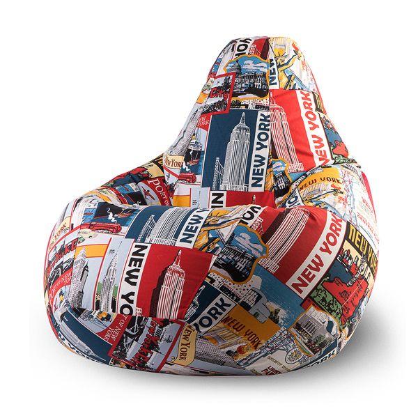 Кресло-мешок New-York XL (принт) Бескаркасное кресло-мешок «New-York» изготовлено из самых высококачественных материалов. Благодаря особой текстуре жаккардовой ткани оно легко стирается в случае появления случайных пятен, устойчиво к загрязнениям и потёртостям. Яркая расцветка, посвященная Нью-Йорку, прекрасно подойдёт к интерьеру вашего дома или офиса. Большой размер кресла рассчитан на вес сидящего до 100 килограмм.