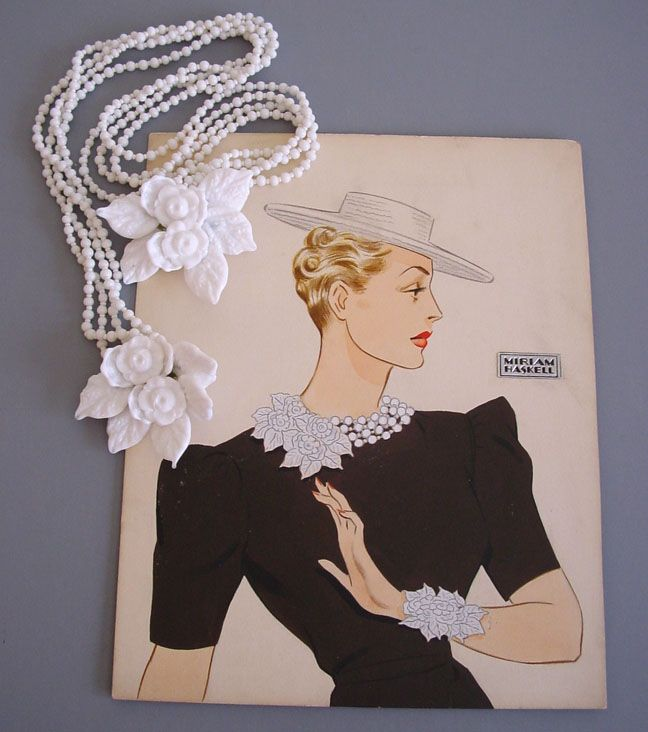 Miriam Haskell Jewelry and watercolour ad