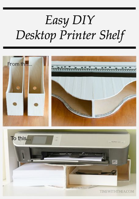 Easy DIY Desktop Printer Shelf ~ Tutorial showing how to easily create a space saving storage shelf on a desktop for your printer and printer paper! A great idea for an easy DIY project to add organization to your office space! / timewiththea.com