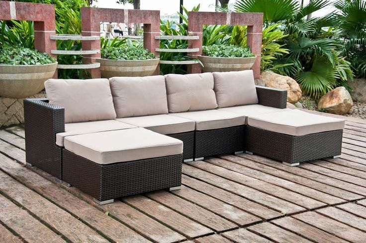6 PC Outdoor All Weather Resin Wicker Patio Set Sectional Sofa Furniture