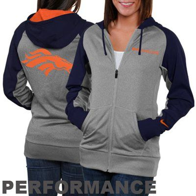 Nike Denver Broncos Ladies Die-Hard Full Zip Performance Hoodie - Ash/Navy Blue $69.95