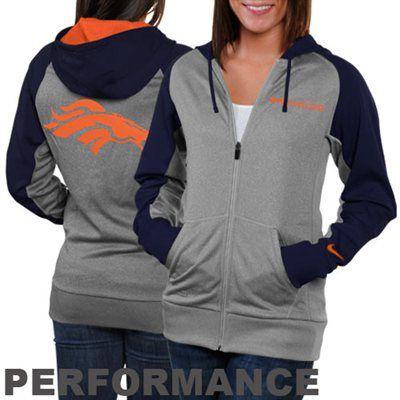 Nike Denver Broncos Ladies Die-Hard Full Zip Performance Hoodie - Ash/Navy Blue $69.95