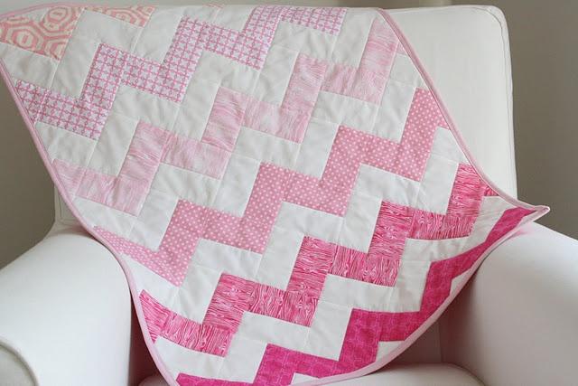 pink chevron baby doll quilt