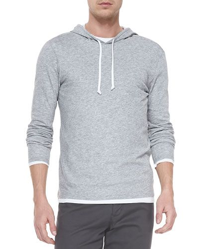 Vince+Double+Layer+Hoodie+Pullover+Heather+Steel+|+Clothing