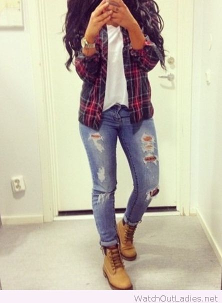 Beautiful flannel with timberlands