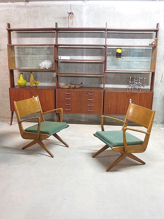 Vintage design wall unit Danish room divider / vintage modulair wandsysteem vitrine kast Deense stijl retro