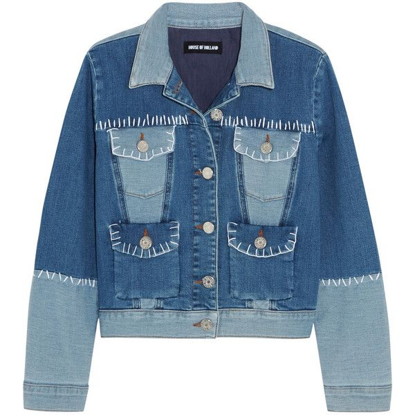 House of Holland Patchwork stretch-denim jacket found on Polyvore featuring outerwear, jackets, blue, stretch denim jacket, blue jackets, patchwork jacket and house of holland