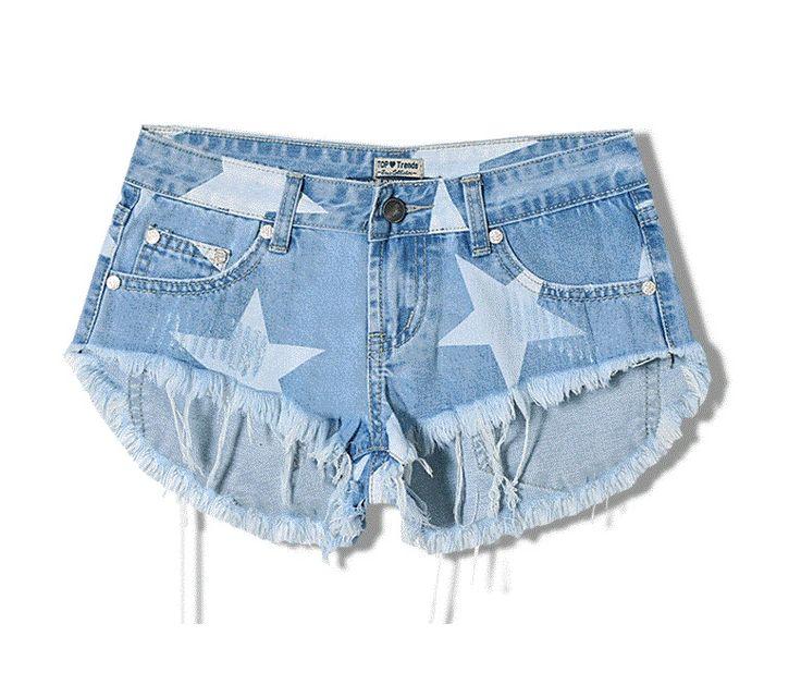 Лето женщины ткань Уличный стиль Ультра короткие шорты звезды печатные джинсовые шорты кисточкой Отверстие кошка усов джинсовые шорты 1526263125