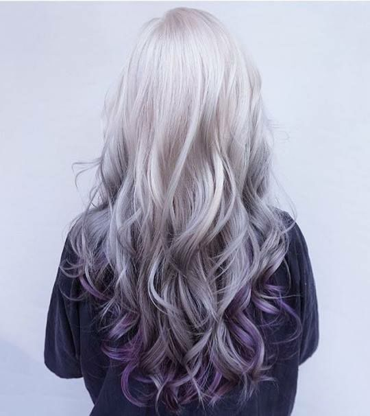Grey blonde to blue purple ombré hair by Mynickistaken