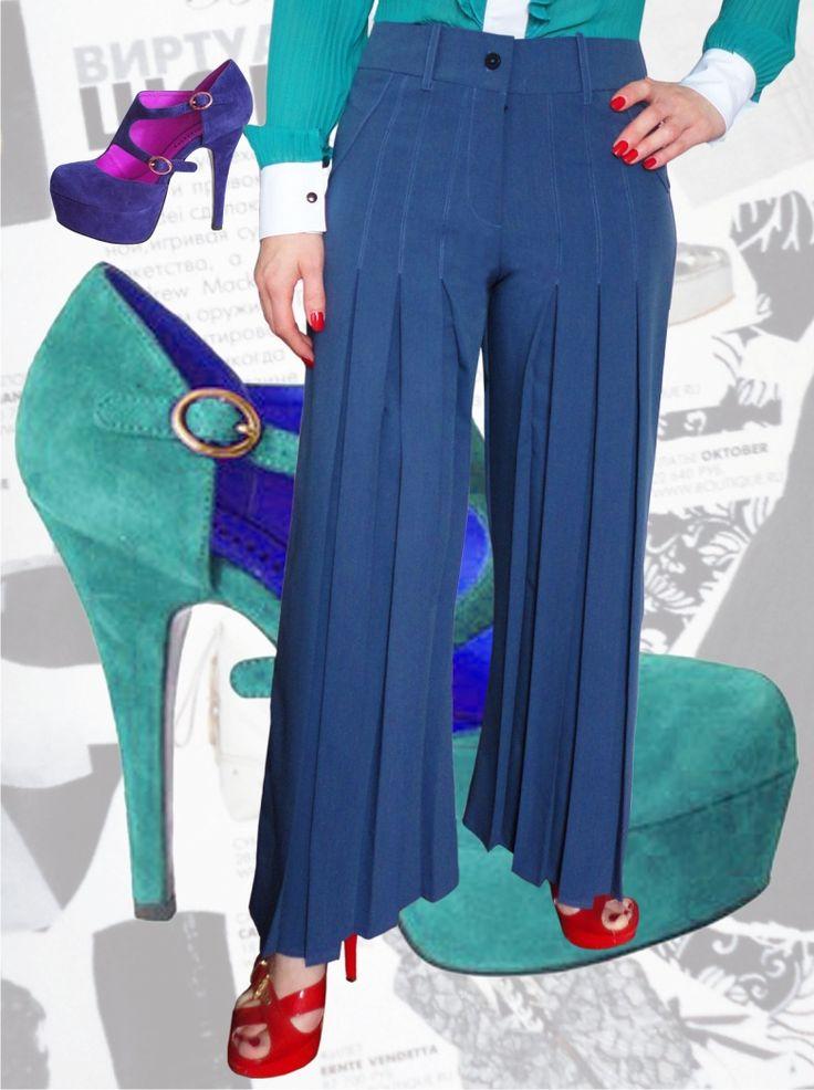 54$ Классические брюки для полных девушек прямые от бедра со складками из тиар вискозы с расцветкой под джинс Артикул 556, р50-64 Брюки с завышенной талией большие размеры Брюки офисные большие размеры  Брюки классические большие размеры