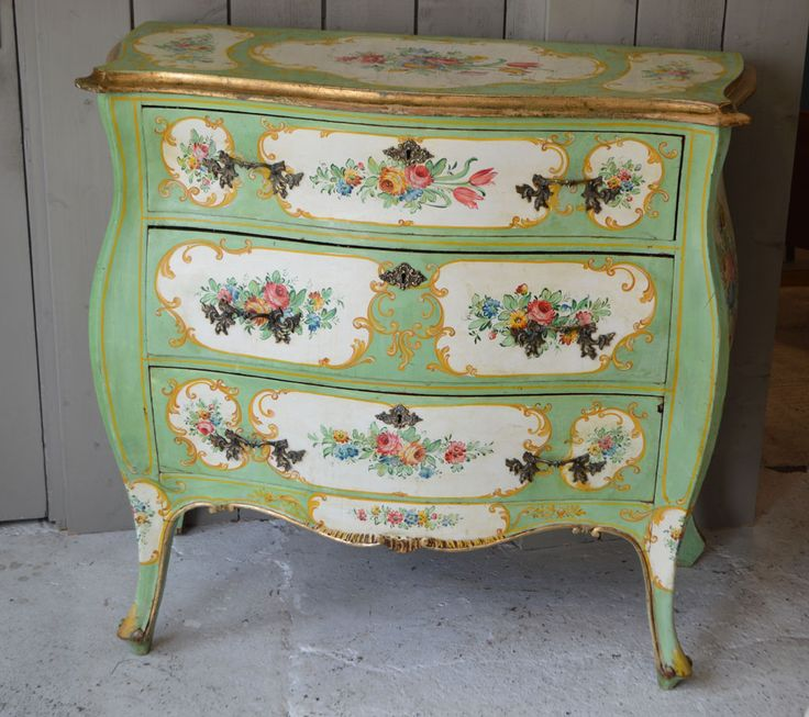 Pretty hand painted Italian bombe commode.  For sale at French Loft Arundel
