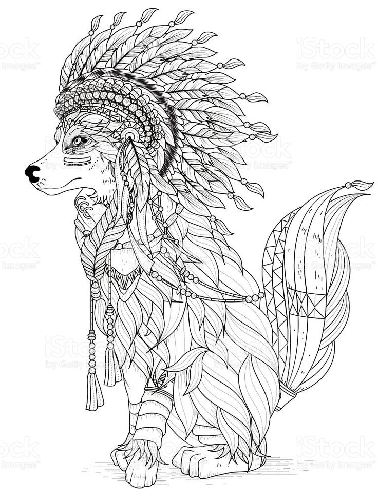 lovely indian style wolf  adult coloring page