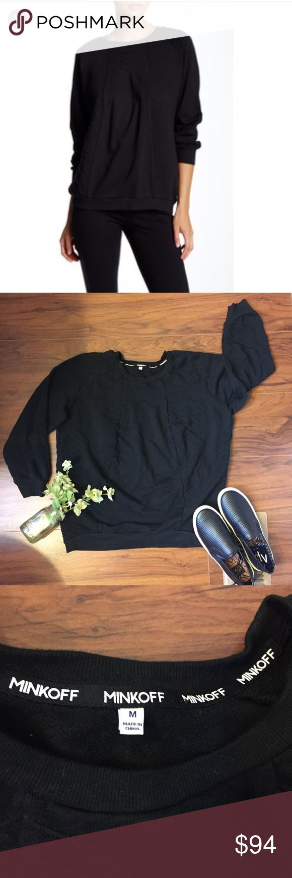"""Rebecca Minkoff Tilly Sweatshirt Black Black embossed 3/4 sleeve crew sweatshirt. Cozy and chic! 23.5"""" shoulder to hem, about 22"""" armpit to armpit flat across. Washed and worn a few times in good condition! Gray stock photo is to better show embossed pattern- it is difficult to see in the black stock photo and my photos. Rebecca Minkoff Tops Sweatshirts & Hoodies"""