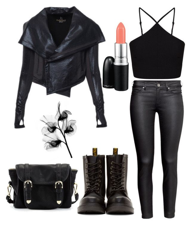"""dark but sexy and dangerous"" by fatmacelen on Polyvore featuring H&M, Dr. Martens, Miss Selfridge, Poverty Flats and MAC Cosmetics"