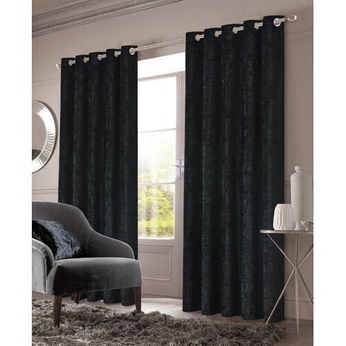 Cavallaro Crushed Velvet Eyelet Room Darkening Thermal Curtains