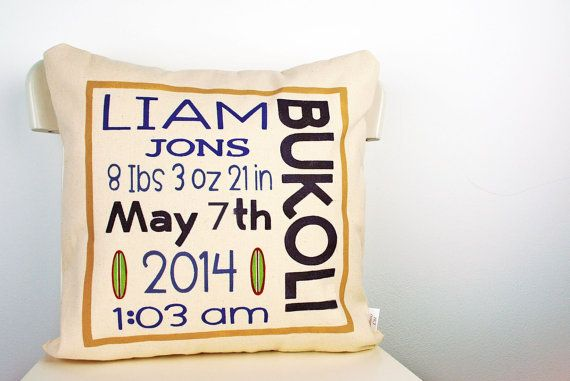 Welcome baby boy pillow cover Baby shower gift by HCJDesigns, $40.00