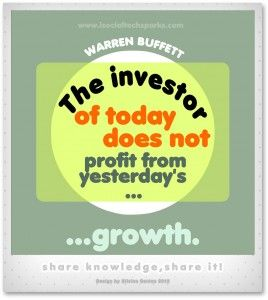 "Warren Buffett – ""The investor of today does not profit from yesterday's growth."""
