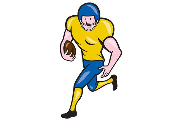 Illustration of an american football gridiron player running back with ball facing side set on isolated white background done in cartoon style.The zipped file includes editable vector EPS,