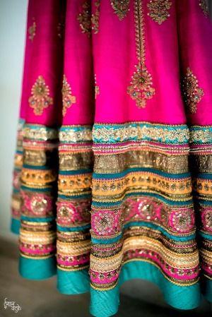 Bright fuschia pink lehenga with a unique blue combination! Wedmegood .... #Wedmegood #brightlehenga #indianwedding #mehendilehenga