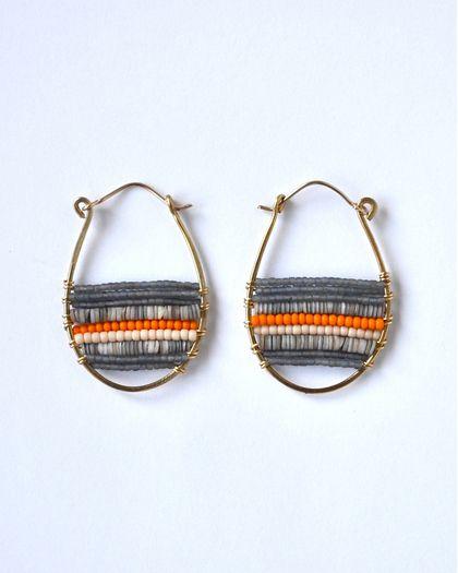 Grey and Orange Shell Snowshoe Earrings