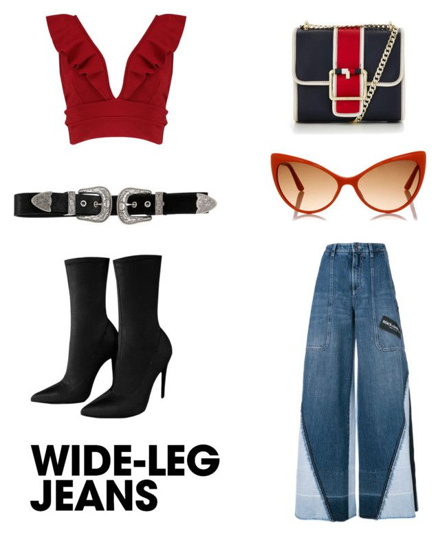 Untitled #147 by dariatamasan on Polyvore featuring polyvore, fashion, style, Boohoo, Dolce&Gabbana, Tommy Hilfiger, B-Low the Belt, Tom Ford, clothing, denimtrend and widelegjeans