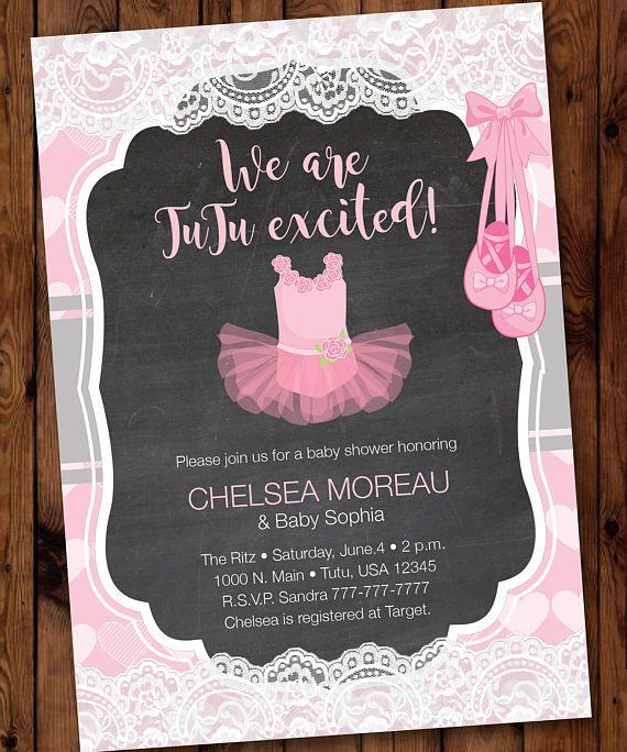 Tutu Baby Shower Invitation, Ballerina Baby Shower Invitation, Pink Tutu Baby Shower Invitation #001