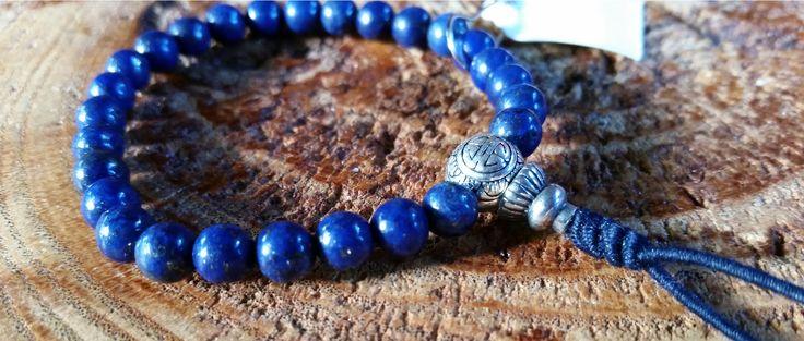 Lápis Lázuli e Prata925 - Pedra Natural - Mala de Mão 27 Contas - Rosário Budista