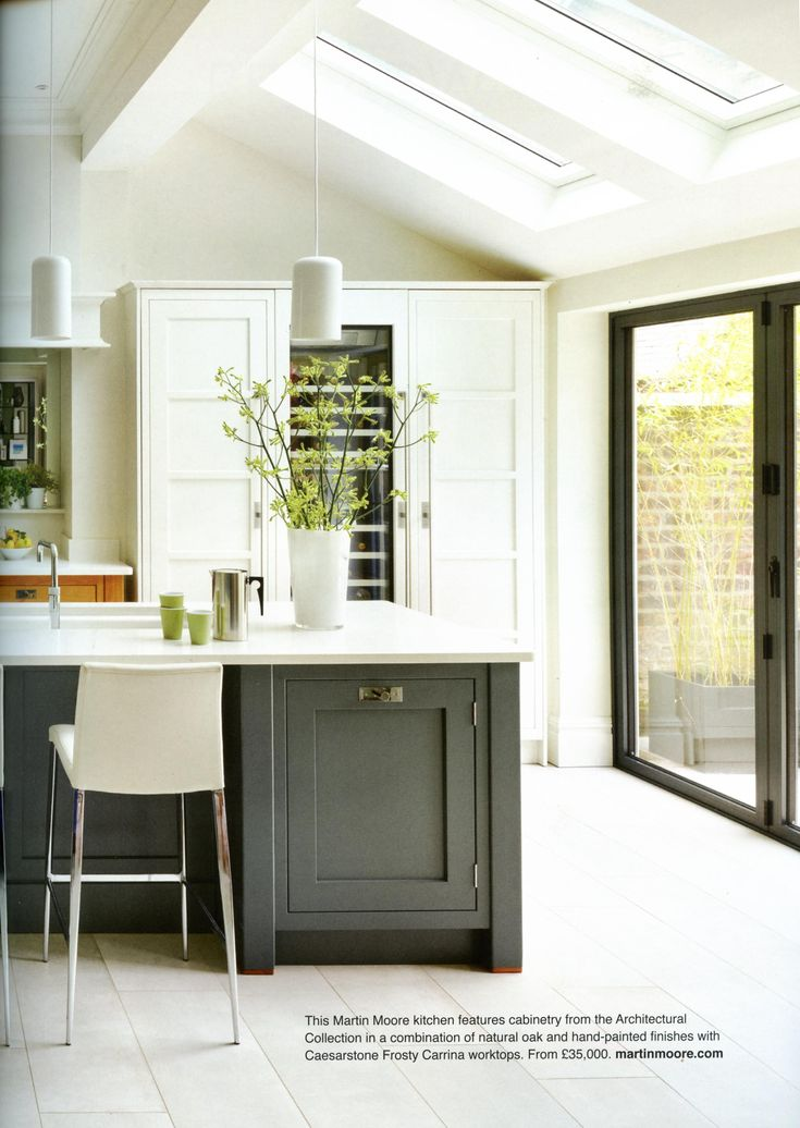 This bespoke kitchen  by Martin Moore located in a modern extension to a Victorian house is a seamless fusion of new and old. martinmoore.com Utopia Kitchen & Bathroom February 2018