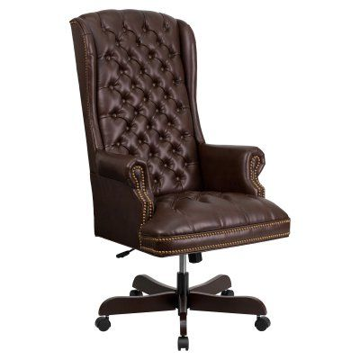 Flash Furniture High Back Traditional Tufted Leather Executive Swivel Office Chair Brown - CI-360-BRN-GG, Durable