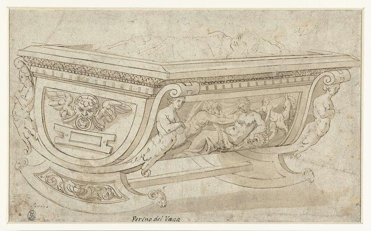 Ontwerp voor een houten wieg op twee schommelpoten, Perino del Vaga, 1530 - 1620