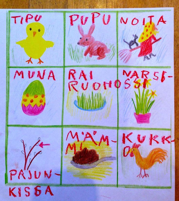 Pääsiäisbingo: Oppilailla on bingo-ruudukko, jossa on 9 ruutua. Jokainen oppilas piirtää ruutuihin valitsemansa pääsiäissanat (pajunkissa, muna, tipu, pupu, mämmi, narsissi, noita, rairuoho, kukko) tai opettaja piirtää bingo-ruudut valmiiksi oppilaille ja kopioi. Luokkaan/käytävään/kouluun on piilotettu pieniä lappuja seinille, joihin on kirjoitettu kuvia vastaavat sanat. Löytäessään sanan, oppilaat lukevat sanan (tai päättelevät poissulkemis-strategialla mikä sana on kyseessä) ja palaavat…
